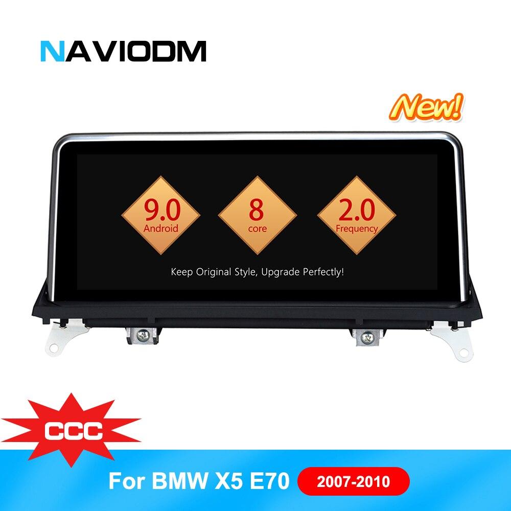 Naviodm android 9.0 carros 8 núcleo Reprodutor multimídia Carro dvd player do carro de áudio para BMW X5/E70/X6 e71 CCC 2007-2009 gps bt rádio aux