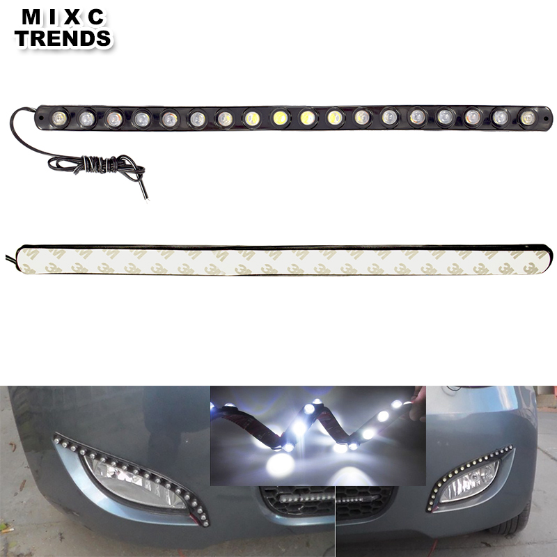 2x18 LED Flexible LED Strip Daytime Running Light Waterproof Eagle Eye Car Auto Decorative High Power 12V cob led DRL Lamp flexible 3w 132lm 6 smd 5050 led white car decorative daytime running light 12v 2 pcs