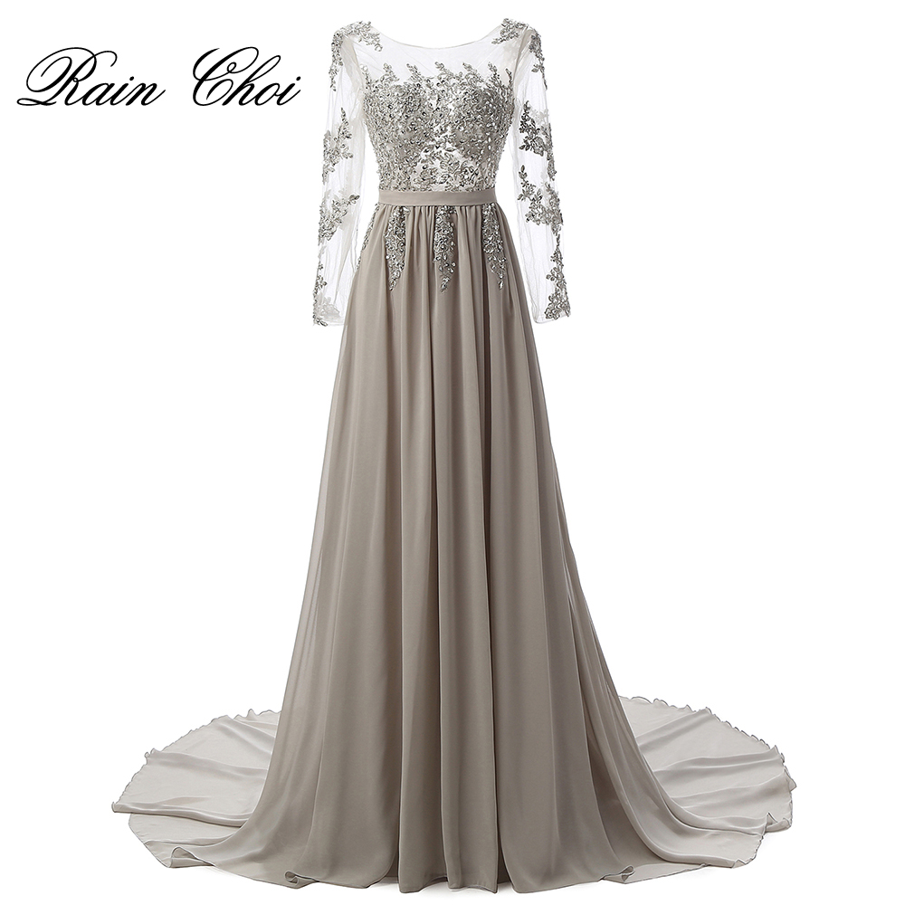Real Photo Long Sleeves Formal Evening Gown Gray Elegant Long Prom Evening Dresses 2017