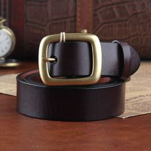2016 fashion men's full grain genuine leather belt solid brass buckles designer belts for men waist strap casual waistband c097