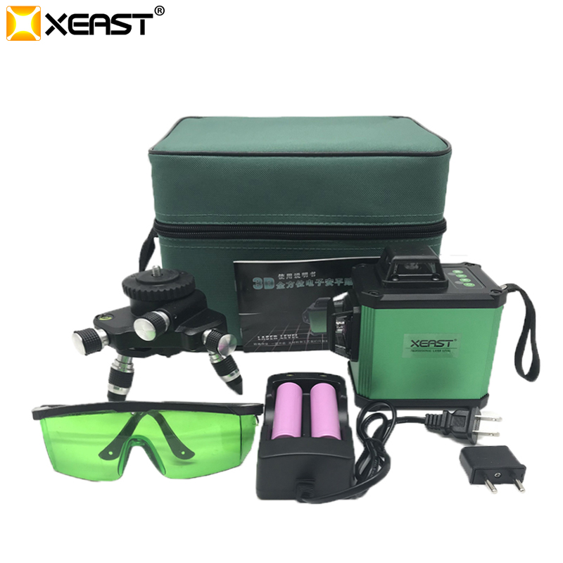 XEAST 2018 Electronic Leveling 12 Line 3D Laser Level High precision Green Laser Level Lithium Battery