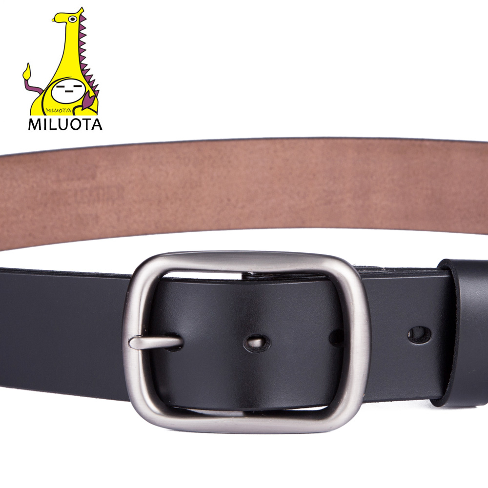 MILUOTA Men Belt Genuine Leather Belts for Men Brand Strap Male Pin Buckle Fashion Vintage Cowboy Jeans Cintos CZ101 in Men 39 s Belts from Apparel Accessories