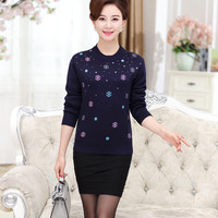 2019 middle aged women's autumn and winter plus cashmere thick sweater warm knit bottom shirt old man grandmother clothes