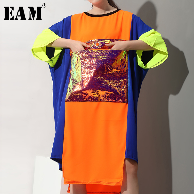 EAM 2019 New Spring Summer Round Neck Three-quarter Sleeve Hit Color Pocket Split Joint Big Size Dress Women Fashion Tide JX024