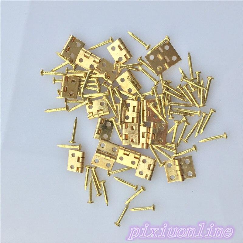 20 piezas J041Y bisagras de latón con clavo, pequeña caja de madera de alta calidad a la venta