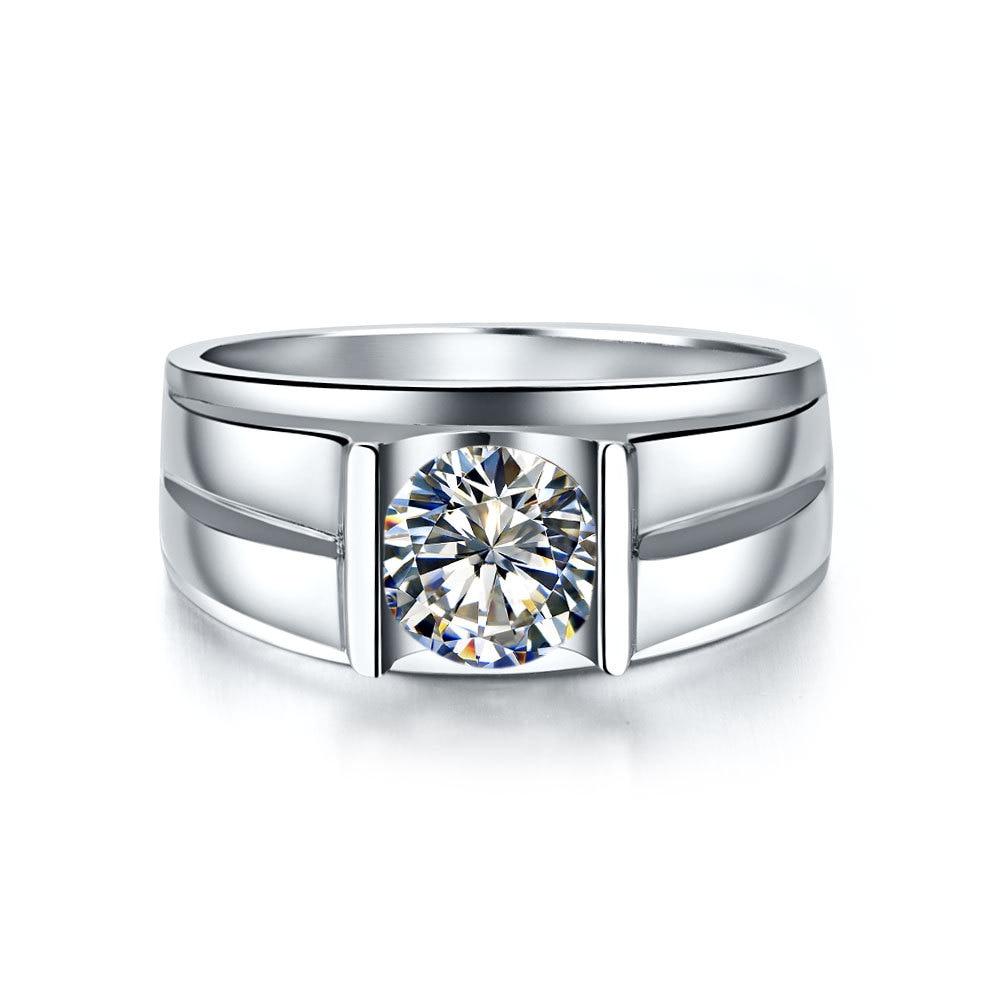 14 KARAT Gold Men Ring Genuine 585 White Gold 1Ct Lab Synthetic Diamonds Wedding Anniversary