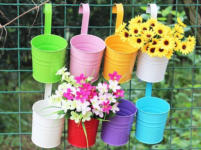 metal iron balcony flower pot hanging garden decoration