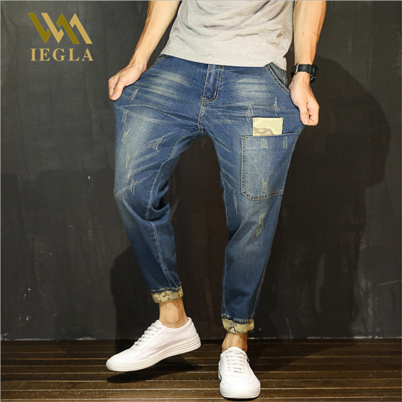 Jeans For Men Hot Sale Vintage Distressed Regular Spandex Ripped Jeans Denim Washed Harem Pants Jeans Hip Hop Pants