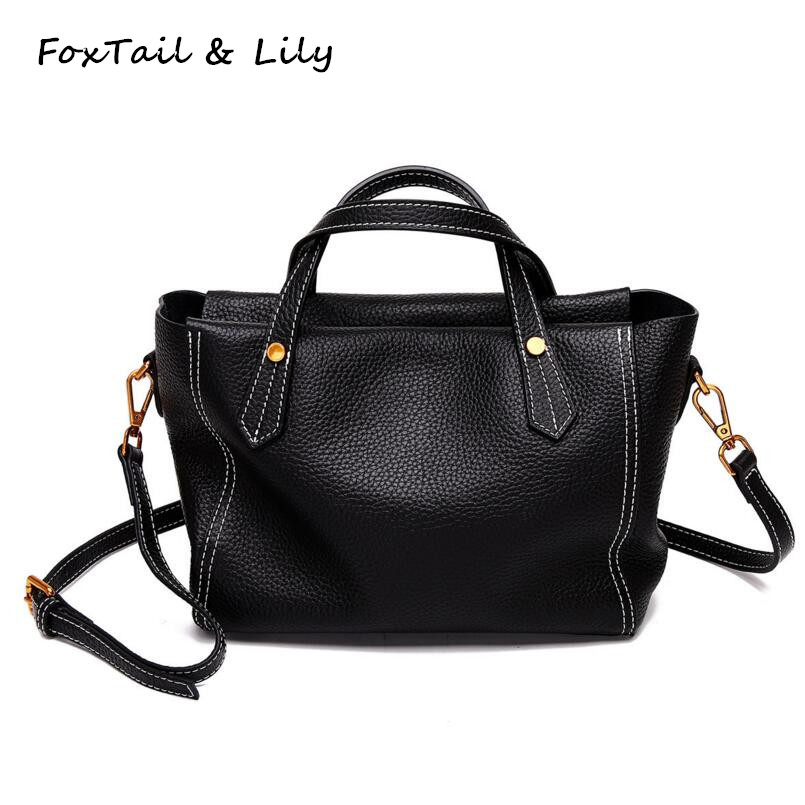 FoxTail & Lily Genuine Leather Women Tote Handbags Luxury Designer Crossbody Bags Fashion Ladies Small Shoulder Messenger Bag luxury handbags women bags designer red genuine leather tassel messenger bag fashion extra large casual tote zipper shoulder bag