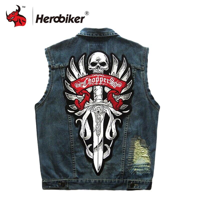 HEROBIKER Motorcycle Rider Vest Motorcycke Jacket Motorcycle Clothing Men Classic Vintage Club Denim Sleeveless Biker Waistcoat