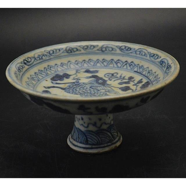 Kolekcja chiński antyczna porcelana dynastii Ming niebieski i biały porcelany malowanie zwierząt Unicorn Kylin kwiat talerz na owoce w Posągi i rzeźby od Dom i ogród na
