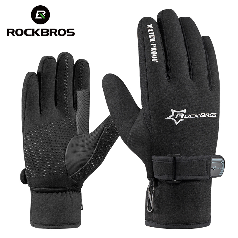 ROCKBROS Winter Windproof Full Finger MTB Road Bike Bicycle <font><b>Gloves</b></font> Fleece Keep Warm Gel Anti-slip Cycling Ski Sports <font><b>Gloves</b></font>