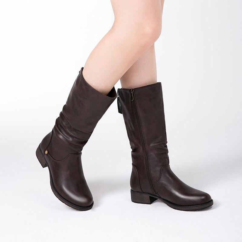 AIMEIGAO Nowa jesień zima połowy łydki kobiety buty