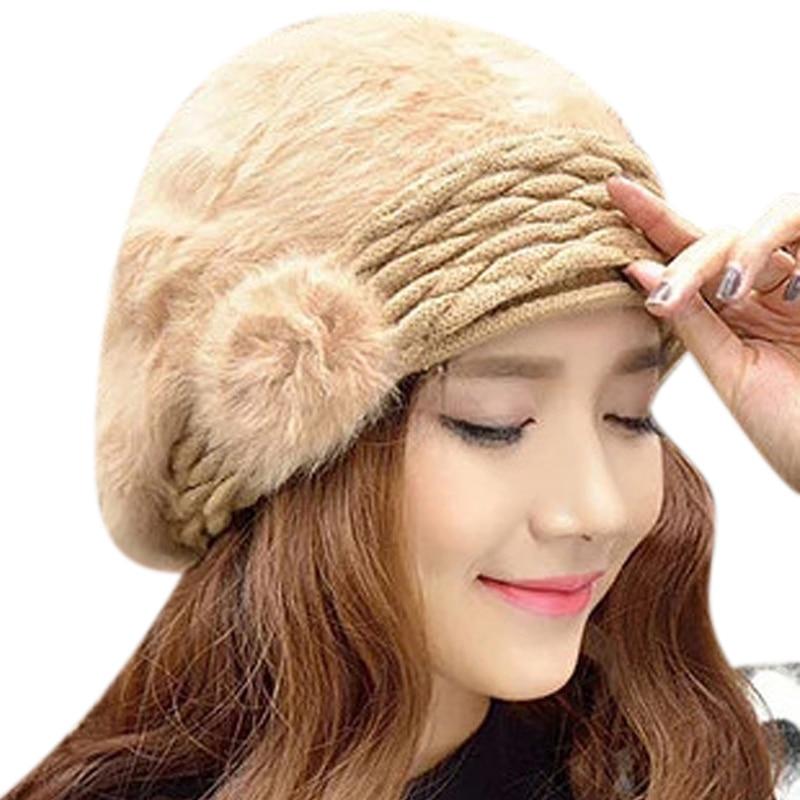 Women's Winter Warm Stylish Protective Ear Cap Warm Wool Hats Rabbit Hair Crochet Flower Knit Beret Cap