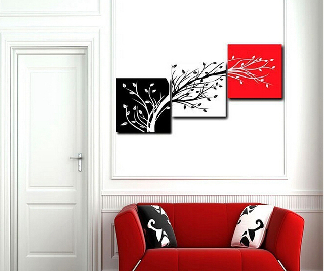 Three Color Trees Oil Painting Home Decor Red Black White Canvas Art