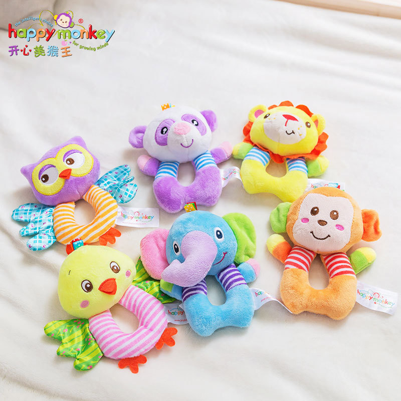 Newborn Hand Ring Cartoon Round Rattle Baby Toys Cute Children Doll Soft Animal Toy Plush Gifts Elephant Monkey Lion 6 12 Months