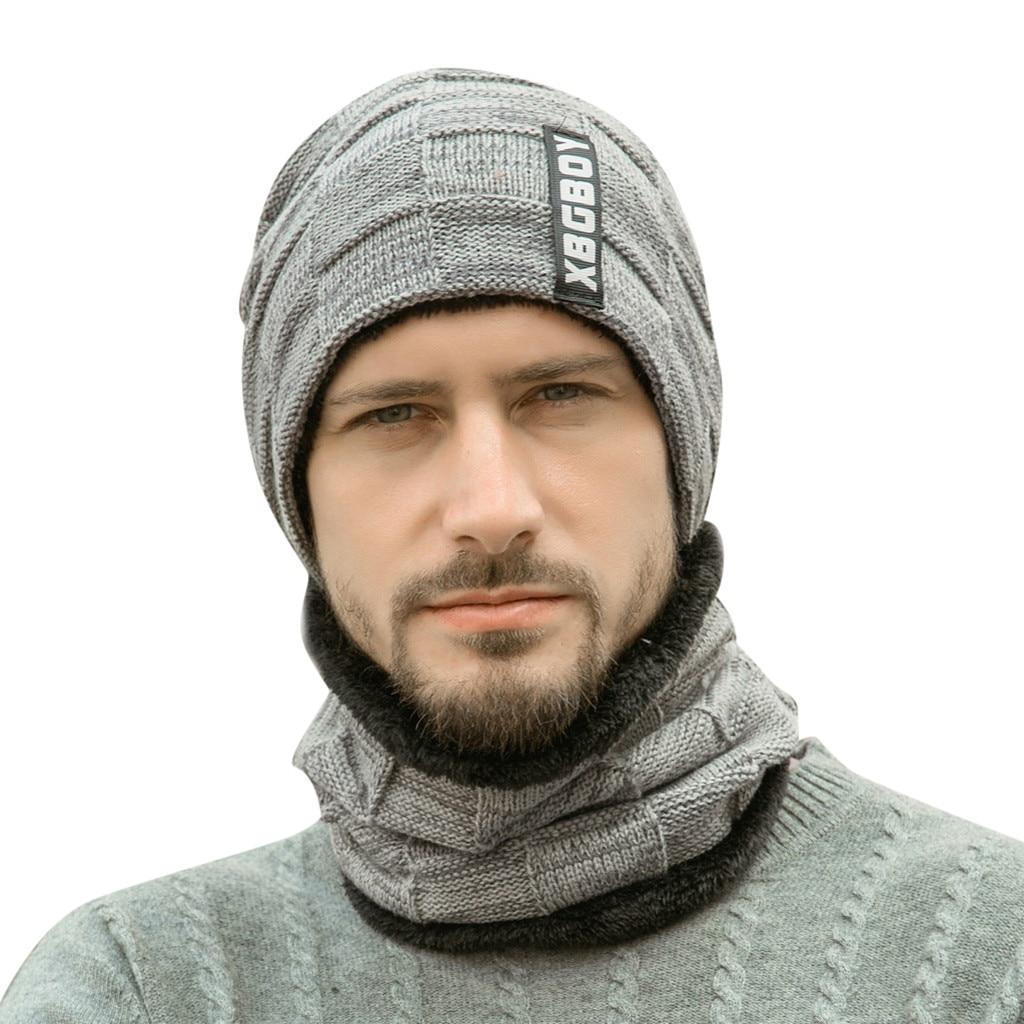 Теплая вязаная шапка, шарф, набор, меховая шерстяная подкладка, толстые теплые вязаные шапочки, Балаклава, зимняя шапка для мужчин и женщин, шапка Skullies Bonnet - Color: Grey