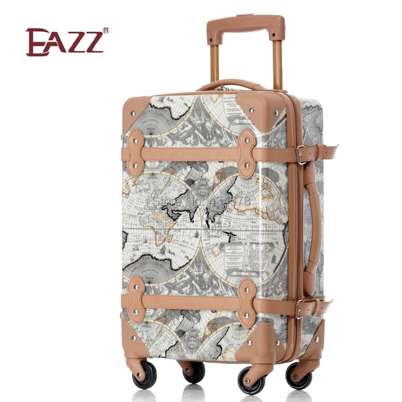 Eazz personality vintage trolley luggage box 18 22 luggage travel ...