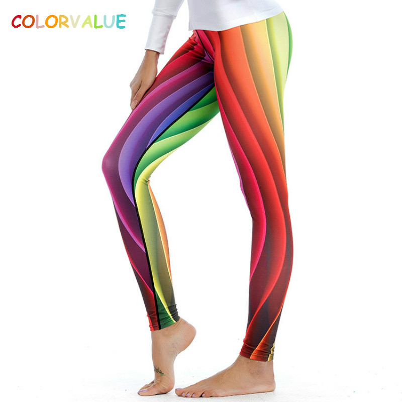 Colorvalue Colorful Printed Sport Gym Leggings Women High Waist Seamless Yoga Fitness Pants Gym Sportswear wih Triangle Crotch