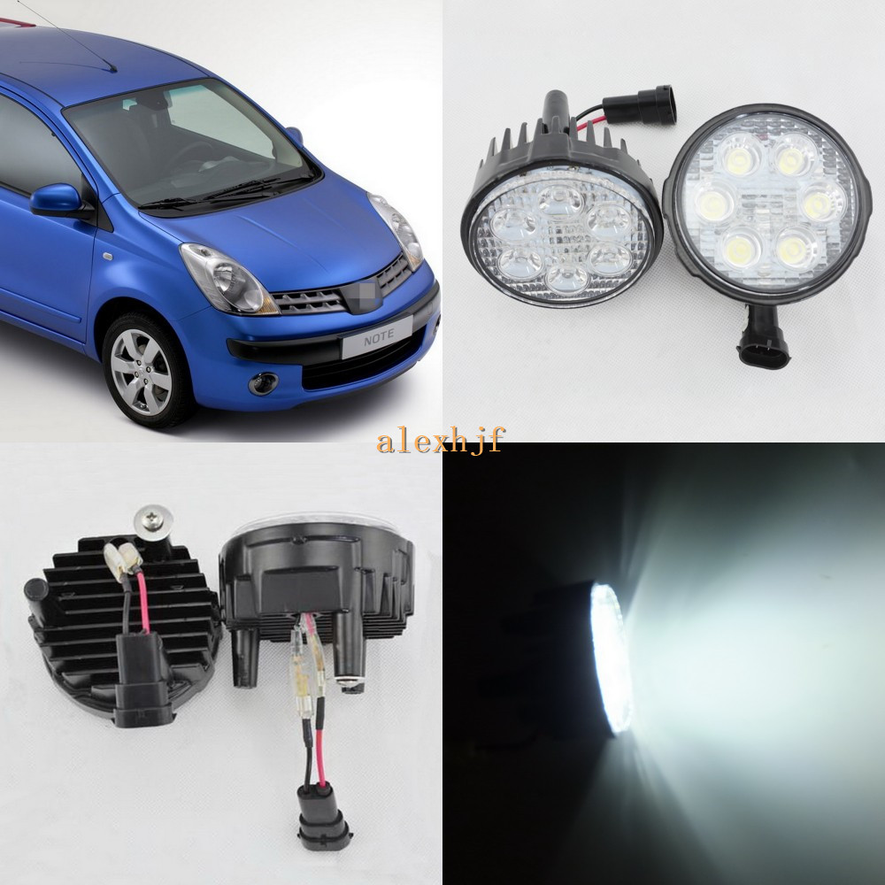 ФОТО July King 18W 6LEDs H11 LED Fog Lamp Assembly Case for Nissan Note 2006~2009 European, 6500K 1260LM LED Daytime Running Lights