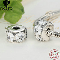 925 Sterling Silver White Enamels Darling Daisy Meadow Clip Stopper Beads Fit Pandora Bracelet For Women