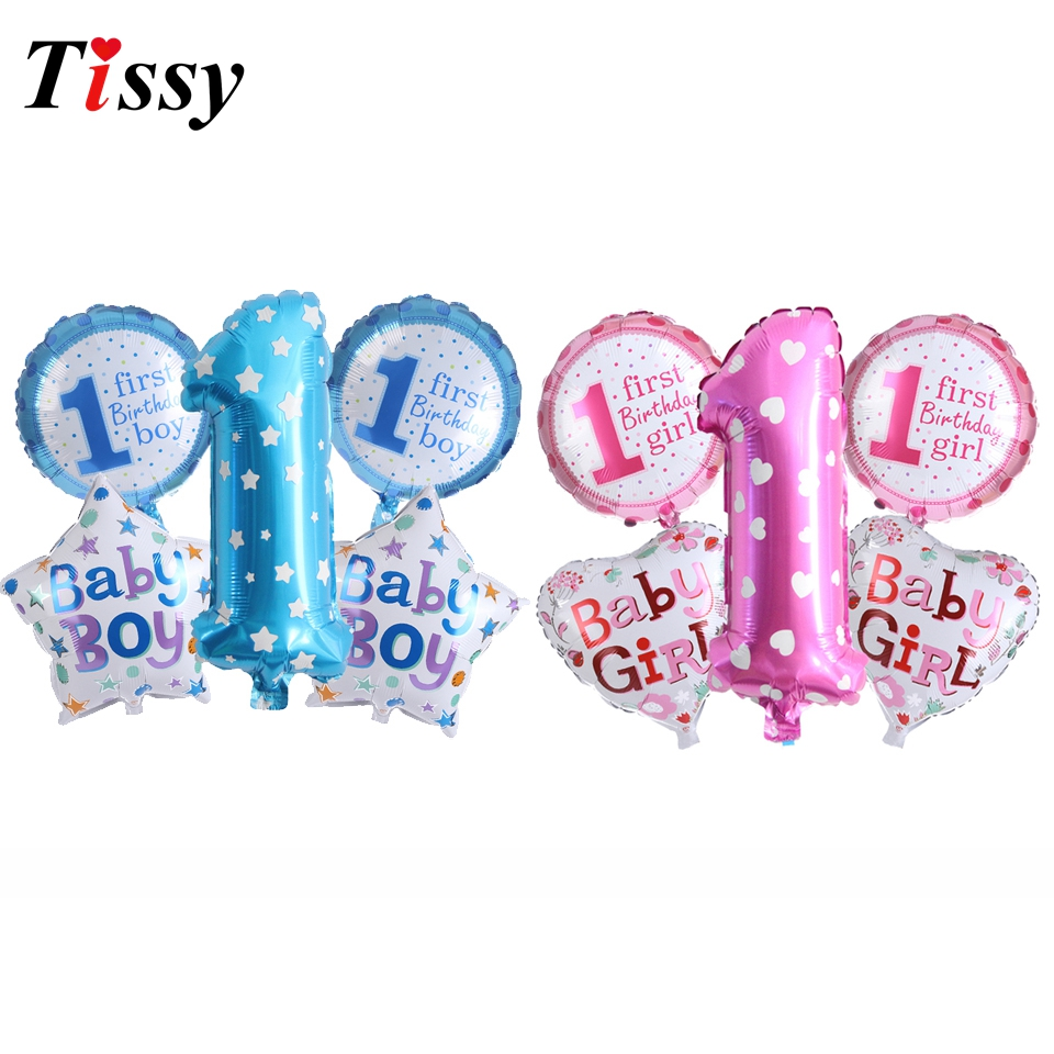5PCS Pink&Blue Balloons 1st Birthday Party Foil Balloons