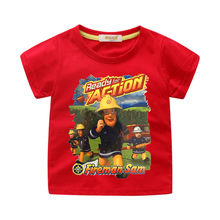 Summer Child Boys Girls Cartton Fireman Sam T SHIRTS KIDS SHORT SLEEVE O-Neck Tees Top 2 to 12 Baby Boy Clothing