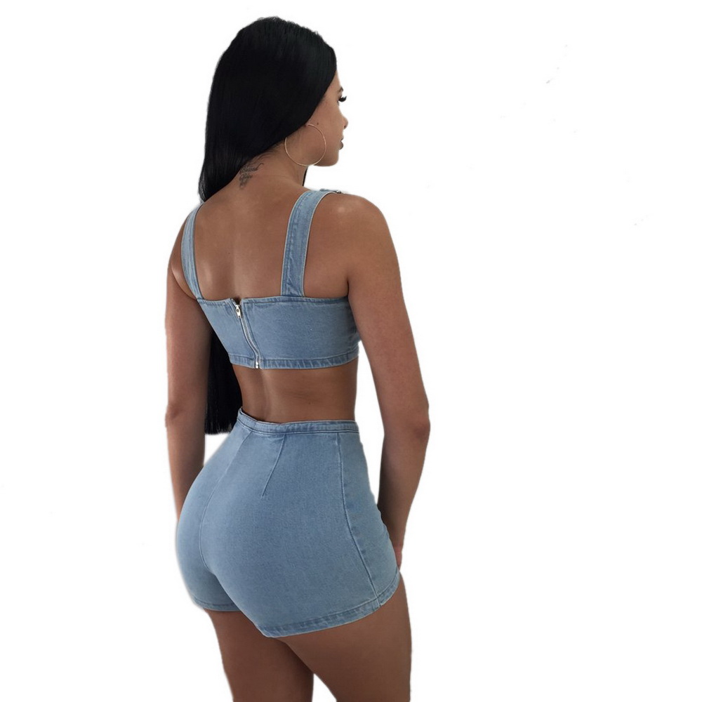 Denim Two Piece Set Summer Tops For Women 2018 Short Sets Sexy Crop Top Spaghetti Strap Strapless Pants Shorts Outfits Clothes