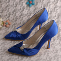 (20 Colors)Wedopus Drop Ship Royal Blue Satin Pointed Toe Wedding High Heel Shoes Party Pumps