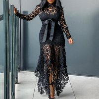 Party Sexy Black Blue Dress 2019 Dinner Bodycon Women Long Dresses Hollow Lace Mesh Beach Tight Night African Fashion Maxi Dress