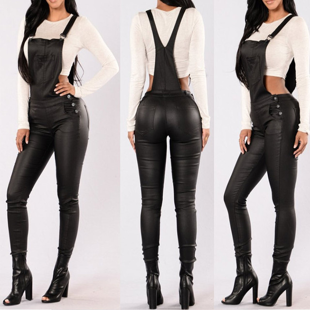 2017 Fashion PU Leather Rompers Womens Slim Long Playsuit Ladies Solid High Waist Jumpsuit Skinny Backless Pockets Overalls