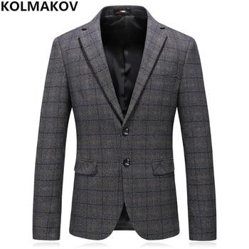 3c2924aa5d8be Blazers Erkekler 2019 erkek Sonbahar Yeni Stil Erkek Lüks Blaid Blazer Slim  Fit Erkek Iş Rahat Blazer Ceket Artı boyutu M-4XL