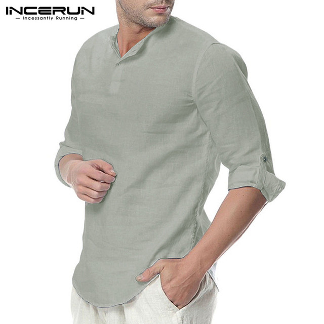 INCERUN Fashion Men Shirt Long Sleeve Cotton Solid Casual Basic Shirt Men Tops Leisure Fitness Pullovers Camisa Plus Size 2019 1