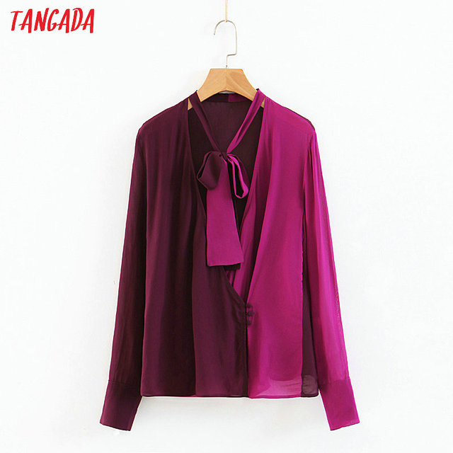 9f380c08fa5e Tangada women purple chiffon blouse bow tie neck patchwork long sleeve  shirts designer tops blusas mujer SL13