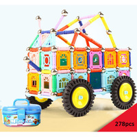 278Pcs Magnet Toy Bars Metal Balls Magnetic Building Blocks Car Toys For Children DIY Designer Educational
