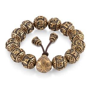 Image 5 - Металлический браслет с бусинами, мужской медный браслет с гравировкой, молитва Ом, тибетский буддизм, мала для медитации, Йога, браслет для женщин, Исцеляющие украшения
