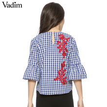 Women floral embroidery plaid blouse full cotton three quarter flare sleeve loose shirts fashion streetwear tops blusas LT1194