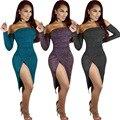 6176 Bodycon Bainha Mulheres Vestido de Manga Comprida Vestidos de Festa Roupas Femininas Vestido Sexy Plus Size Clube Vestido