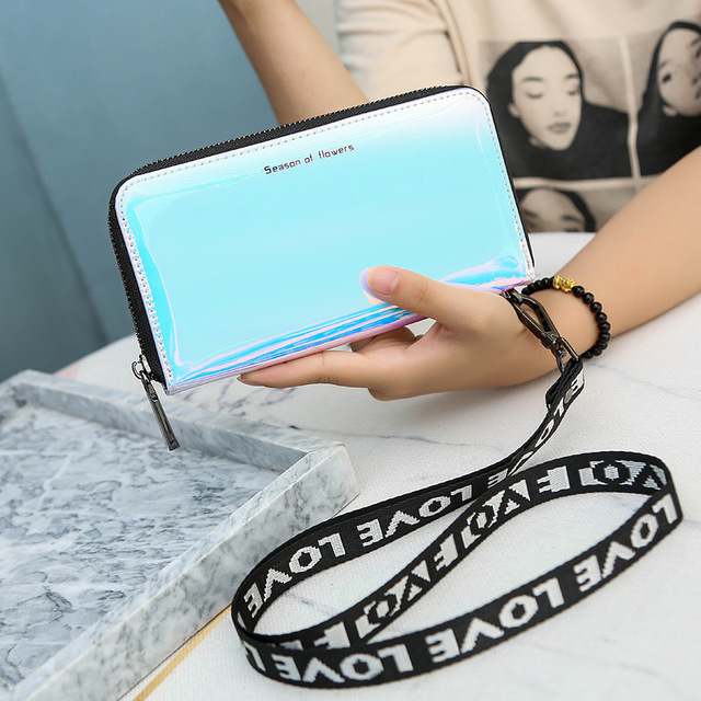 New Lanyard Laser Holographic Wallet Women Long Purse Female Clutch Bag Women Wallets Purses Portfel Zip Phone Pocket Carteras