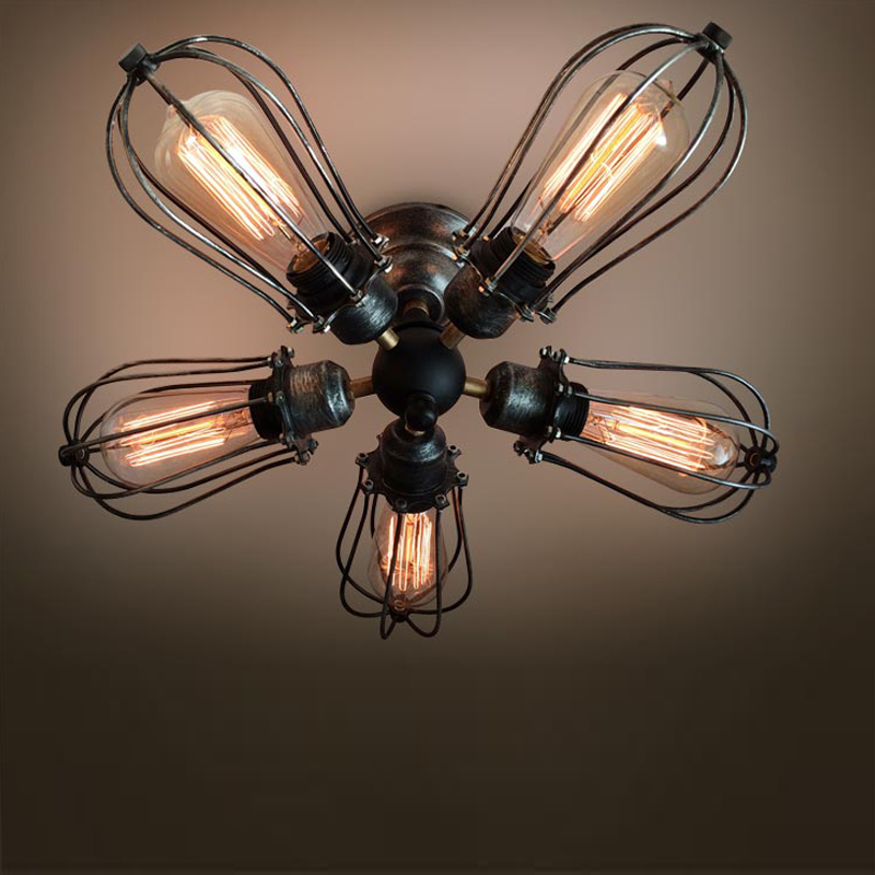2015 New Rustic 5 Lights Iron Cage Ceiling Fan Lamp