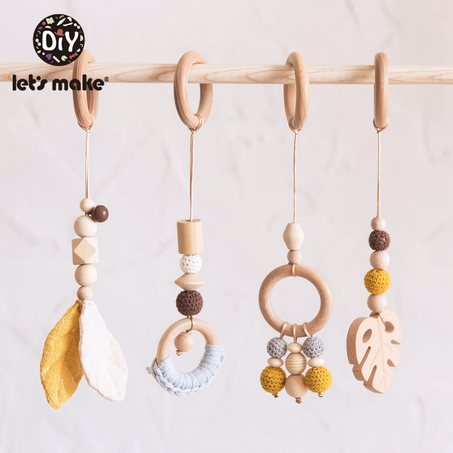 Image 2 - LetS Make 4Pc/Set Baby Teething Pacifier Necklace Hanging Toy Wooden Rattles Toys For Children From 0 12 Months  TeetherBaby Rattles & Mobiles   -