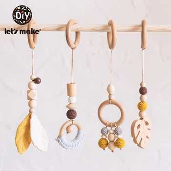 Let\'S Make 4Pc/Set Baby Teething Pacifier Necklace Hanging Toy Wooden Rattles Toys For Children From 0-12 Months Teether