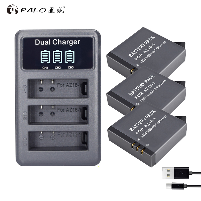 Stromquelle Lcd 3 Ports Usb Ladegerät Für Xiaoyi 4 K 2 Action Kamera Batterie Gewissenhaft 3 Pcs Az16 1400 Mah Für Xiaomi Yi 4 K Ii 3,85 V Az16-1 Batterien Digital Batterien