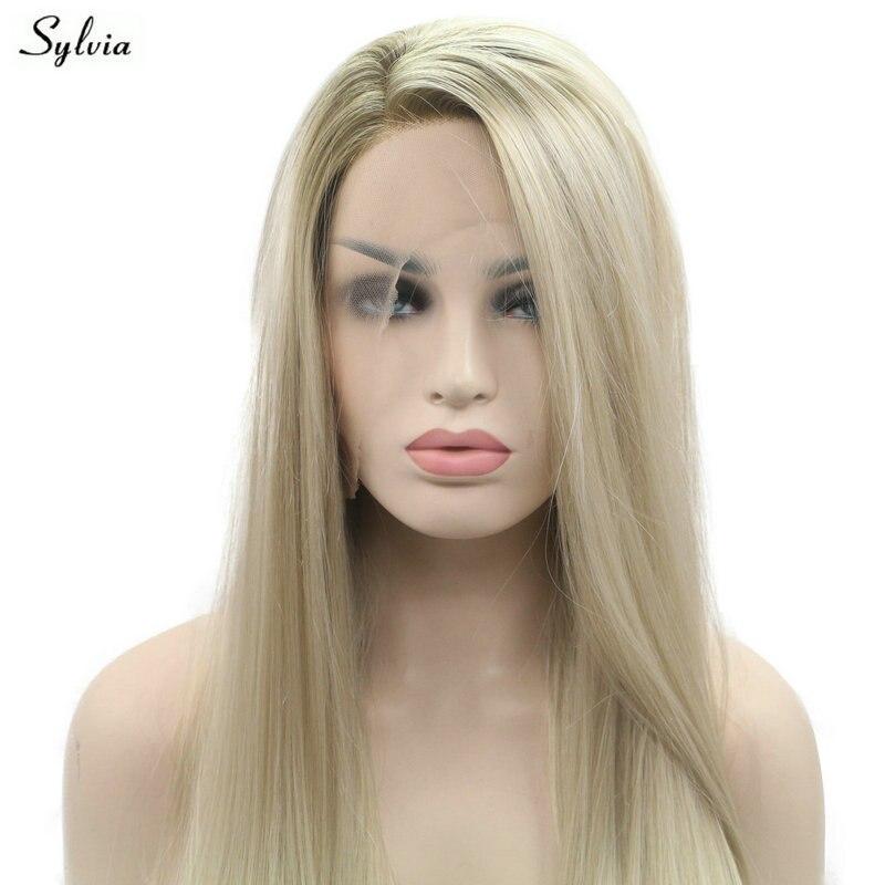 Sylvia коричневый ombre светлые мягкие синтетические Синтетические волосы на кружеве парик длинные шелковистые прямые коричневые корень термос...