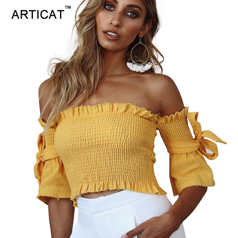 Articat Sexy Off Shoulder   Top   Tees Streetwear Ruffle Half Sleeve Bow Tie Women   Tank     Top   Female Strecth Slim Party Crop   Top   2017
