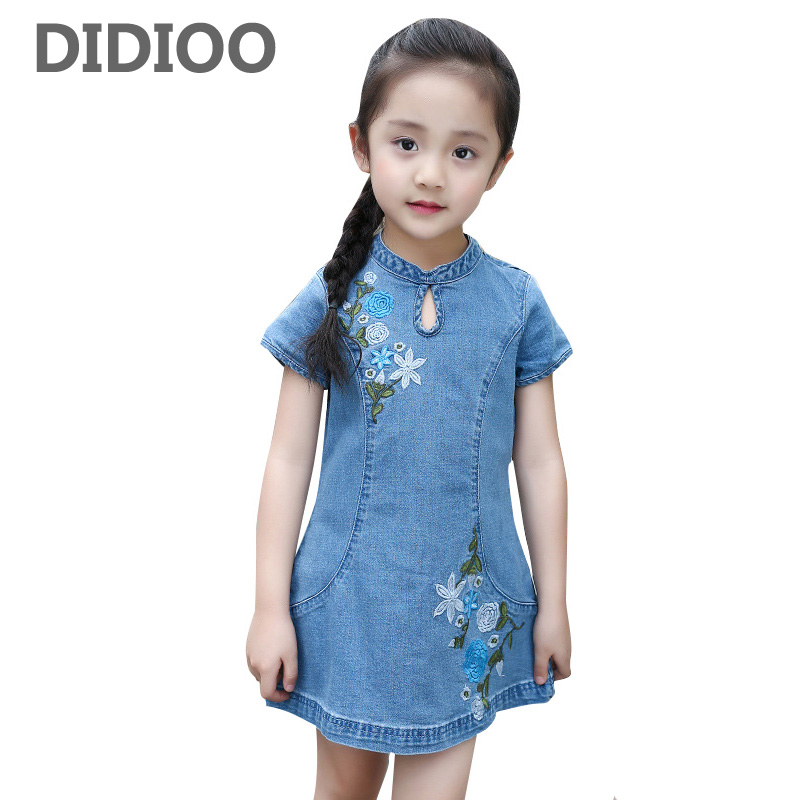 Children Denim Dresses For Girls Clothing Summer 2017 Kids Cheongsam Dress Floral Print Princess Party Dress 2 4 6 8 10 12 Years favourite уличный светильник favourite zagreb 1804 1f