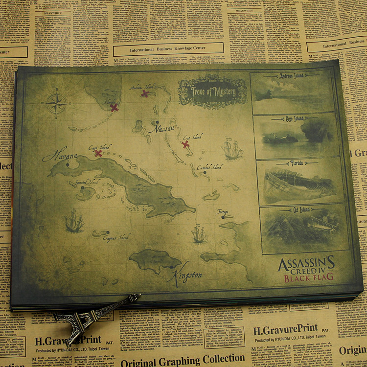Assassins creed poster black flag map stickers wallpapers kraft this is just a poster but i will attach you double sided tape gumiabroncs Gallery
