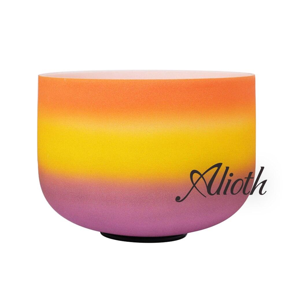 Bol chantant en cristal de couleur D arc-en-ciel de 11 pouces pour l'équilibrage du Chakra Sacral/Yoga/méditation/thérapie du son