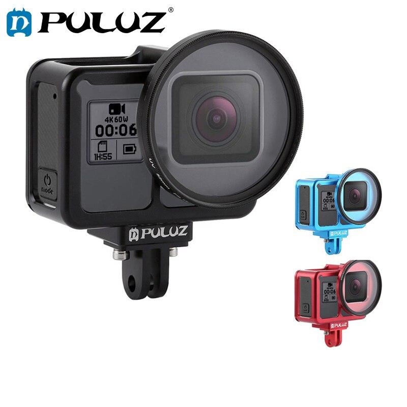 PULUZ En Alliage D'aluminium De Protection Cage Cas pour GoPro Hero 7 Noir/6/5 avec D'assurance Cadre & 52mm UV Lentille Parfait GPS Signal de Données