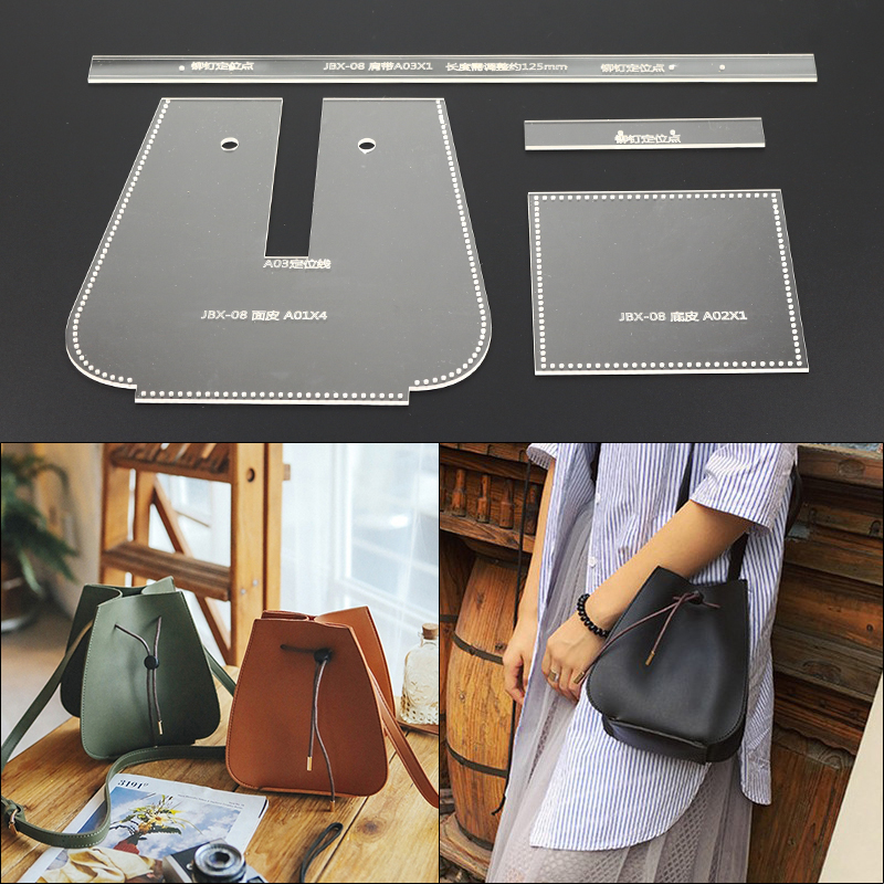 1Set DIY Leather Template Craft Sewing Pattern Women Shoulder Bag Acrylic Template Set 17x17x20cm